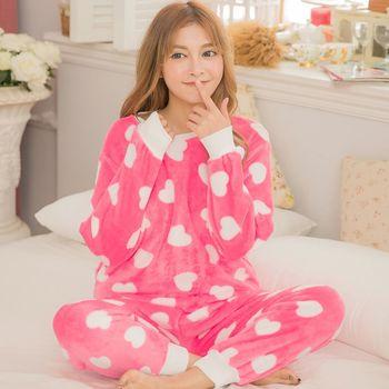 lingling日系 全尺碼-水貂絨愛心長袖二件式睡衣組(迷人桃粉)A3129