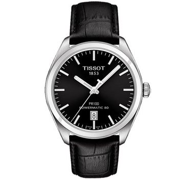 TISSOT 天梭 PR100 Powermatic 80 機械腕錶-黑/40mm T1014071605100