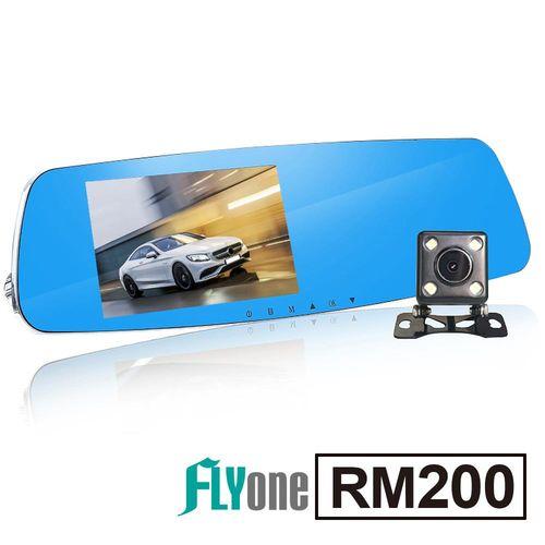 FLYone RM200 (+送32G+後視鏡頭) 高畫質夜視WDR+HDR+倒車顯影 5吋大螢幕 前後雙鏡 後視鏡行車記錄器