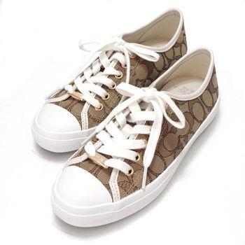 COACH 專櫃新款簡約白色c logo緹花布休閒帆布鞋-5號