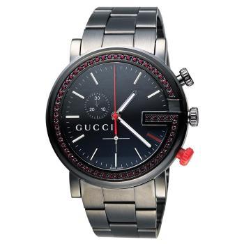 GUCCI G-Chrono 頂尖時尚水晶計時碼腕錶-IP黑x紅水晶框/44mm YA101348