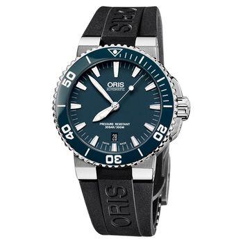 Oris Aquis 時間之海專業潛水機械腕錶-藍x橡膠/43mm 0173376534155-0742634EB