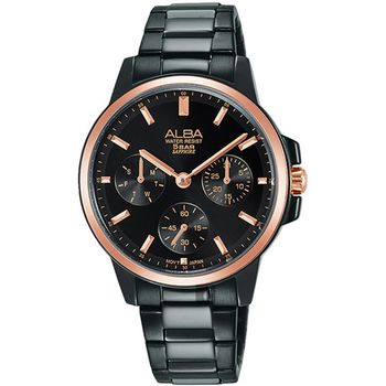 【ALBA】限量率性簡約情人節對錶-黑x玫瑰金-女錶 (VD75-X105SD)