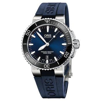 Oris 豪利時 Aquis 時間之海中型潛水機械錶-藍/43mm 0173376534135-0742635EB