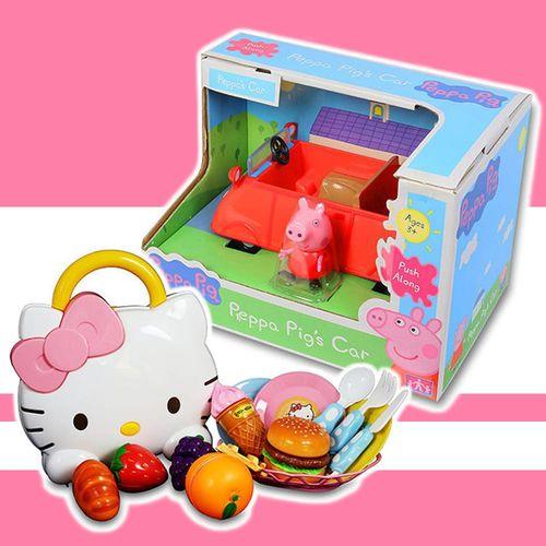 【HelloKitty凱蒂貓】KT戶外野餐包包組+粉紅豬小妹橘色小汽車 KT19510+PE05324