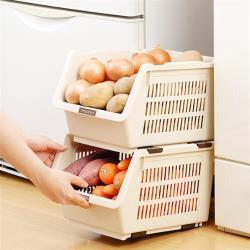 日本製造INOMATA可疊放附滑輪蔬果收納籃(亮灰色)1入裝