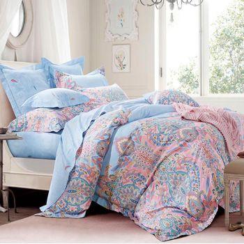 【Betrise】艾爾曼-環保印染德國防螨抗菌精梳棉四件式兩用被床包組-加大