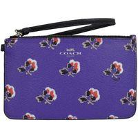 COACH 56027 馬車LOGO烙印花朵圖案皮革零錢手拿包.紫