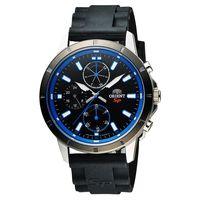 ORIENT 東方錶 SP 系列 炫彩三眼日曆 石英錶~黑x藍圈 44mm FUY0300
