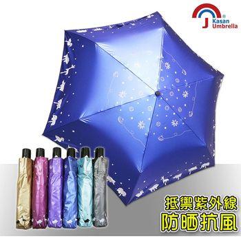 【Kasan】輕量防風抗UV自動雨傘(星空動物園寶藍款)
