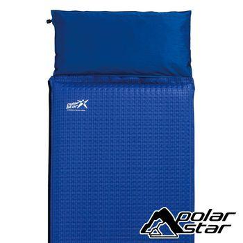 PolarStar 自動充氣睡墊附枕頭6.35cm『蔚藍/千鳥格』P16733 帳篷|露營|睡墊│軟墊│充氣床墊│坐墊