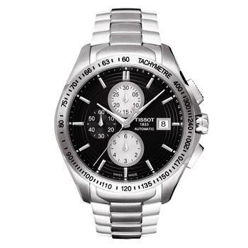 TISSOT Veloci-T 運動競速計時機械腕錶-黑/42mm T0244271105100
