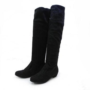 【Moscova】簡約極簡。兩穿反折絨布低跟長靴-黑色