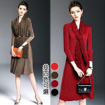【歐風KEITH-Will】韓法合作設計素色修身視覺洋裝