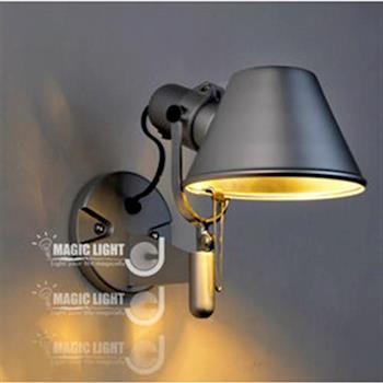【光的魔法師 Magic Light】 鋁製雙臂檯燈 設計師用燈 【霧銀】床頭壁燈