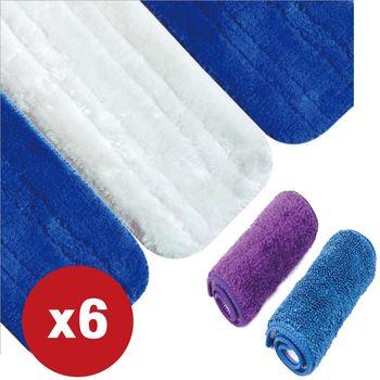 第三代免沾手平板拖把 超細纖維替換布 6入組