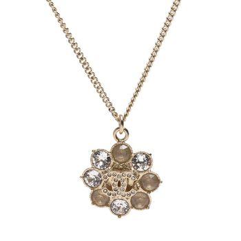 CHANEL 巴洛克風花朵雙C LOGO水鑽鑲嵌墜飾項鍊(金)