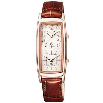 【CITIZEN 星辰】xC 小法國雙時間時尚皮帶腕錶/EW4002-09W