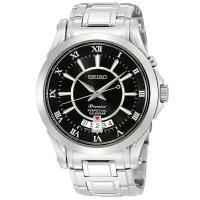 SEIKO 精工 Premier 羅馬 萬年曆洗鍊腕錶 ^#47 黑 ^#47 40mm