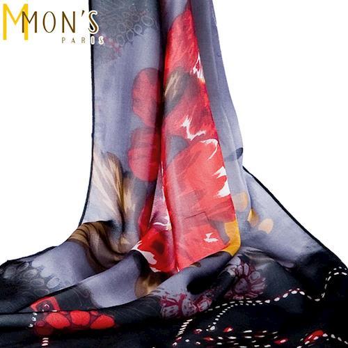 MONS藝術印花蠶絲圍巾