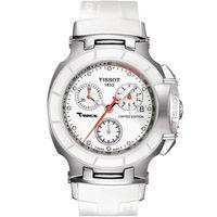 TISSOT T~RACE 璀璨永恆真鑽陶瓷計時腕錶 白x橡膠錶帶 36mm  T0482