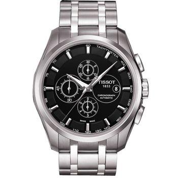 TISSOT 天梭 PRC 100大徑面自動計時腕錶(黑x鋼帶/43mm) T0356271105100