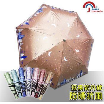 【皮爾卡登】無敵防曬抗UV自動開收雨傘(亮橘款)