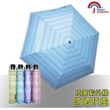 【皮爾卡登】輕量抗UV自動開收雨傘(天空藍)