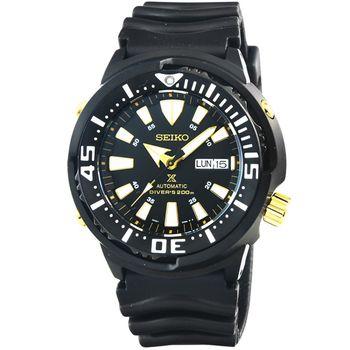 SEIKO 精工鮪魚罐頭機械膠帶腕錶-IP黑 / SRP641K1