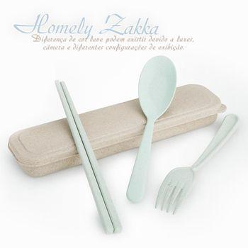 【Homely Zakka】麥趣食光健康環保小麥隨身餐具組(森林綠)