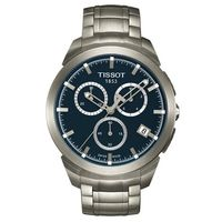 TISSOT 天梭 T ^#45 CLASSIC系列鈦金三眼計時腕錶 ^#40 藍 ^#4