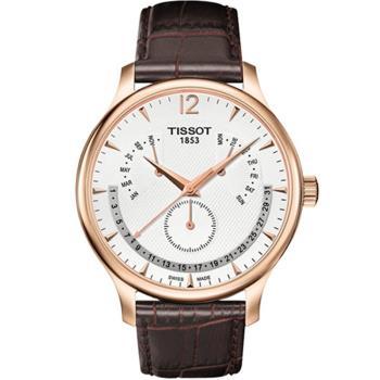 TISSOT 天梭 Tradition 逆跳星期萬年曆石英腕錶(金框-42mm) T0636373603700