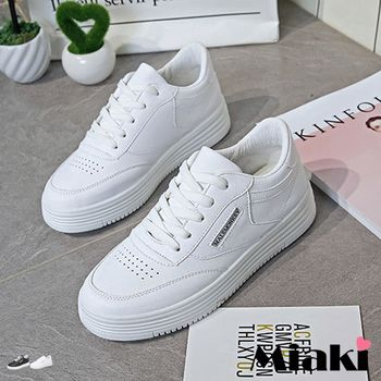 【Miaki】慢跑鞋韓皮質率性字母素面綁帶平底包鞋(白色 / 黑色)