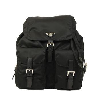 PRADA 經典尼龍雙口袋後背包(大型-黑色)