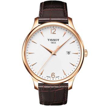 TISSOT 天梭  T-TRADITION 尊爵超薄時尚男錶(白面/金框) T0636103603700
