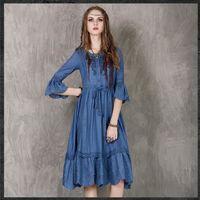 ~維拉森林中大 ~波西米亞風繡花七分袖連身長裙