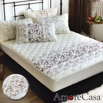 【AmoreCasa】羅蘭玫瑰 雙人防潑水防蹣抗菌兩用床包型保潔墊(2色可選)-加贈同花色枕套