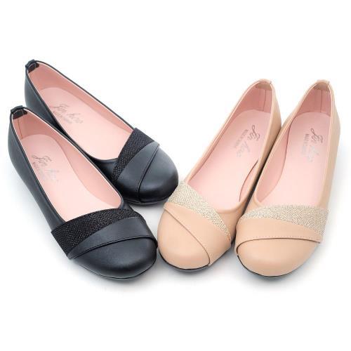 【 cher美鞋】MIT斜紋閃亮金蔥圓頭低跟鞋♥黑色/金棕色♥NPR-D