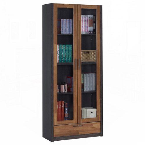 【AT HOME】雷恩2.7尺雙色長玻下抽書櫃