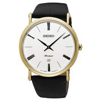 SEIKO 精工 Premier 系列超薄石英腕錶 #45 銀x金框 #47 41mm 7
