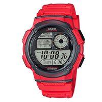 ~CASIO~ 世界之城科技 膠帶錶 ^#45 紅 ^#40 AE ^#45 1000W