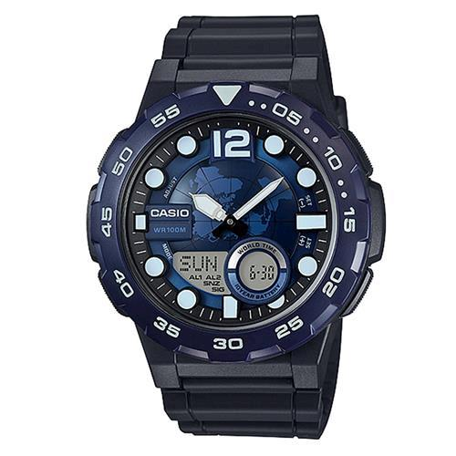【CASIO】 悍將世界潛水風格地圖玩家雙顯運動錶-深藍 (AEQ-100W-2A)