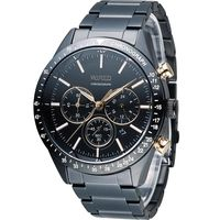 WIRED 日系潮流多 三眼計時腕錶 VD53 ^#45 KE30K 黑x玫瑰金 AY80
