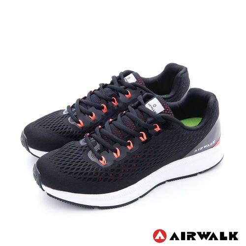 【美國 AIRWALK】有氧氣流 雙層網巢透氣超彈運動鞋 -男-黑潮黑
