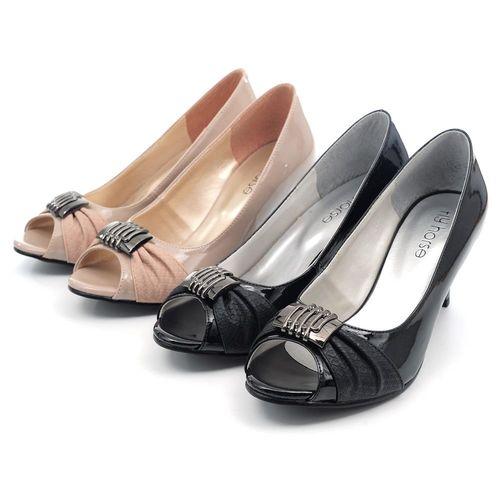 【cher美鞋】MIT露趾高雅飾釦細跟鞋(黑/駱2色)  MPM-HG