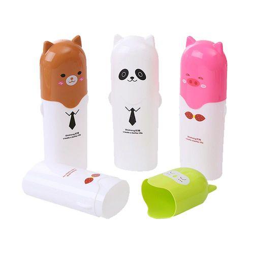 可愛動物旅行牙刷收納盒 環保餐具收納盒
