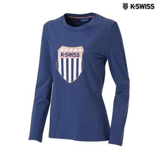 K-Swiss Heather Print LS Tee圓領長袖T恤-女-單寧藍