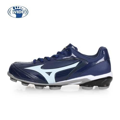 【MIZUNO】SELECT 9 男女棒壘球鞋-WIDE-寬楦  棒球 美津濃 丈青白