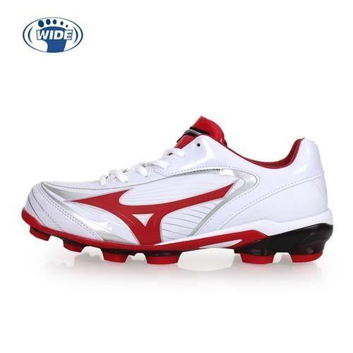 【MIZUNO】SELECT 9 男女棒壘球鞋-WIDE-寬楦  棒球 美津濃 白紅