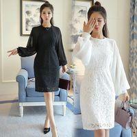 ~Reko Fashion~氣質蕾絲拼接燈籠袖包裙洋裝 ^#40 共二色 ^#41